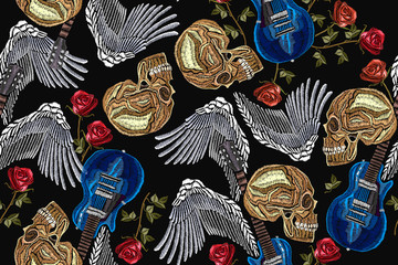 Embroidery rock music seamless pattern. Skull, guitar, wings, classical embroidery, music print template for clothes, textiles, t-shirt design