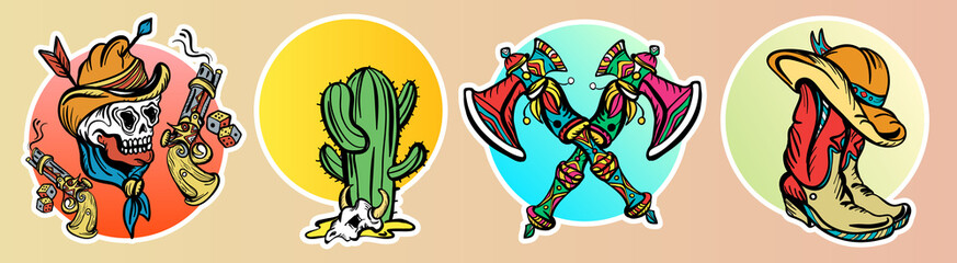 Cowboy, cactus, guns. Classic flash tattoo style, patches and stickers set. Wild west old school tattoo vector. Fashionable western