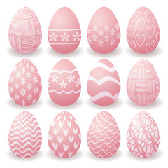 set of pink Easter eggs with white patterns