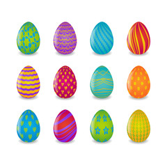 set of 16 colorful easter eggs with different patterns