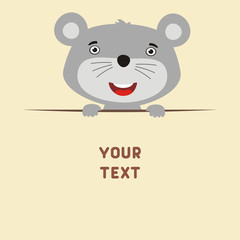Funny mouse looks out from behind the text. Postcard with cartoon mouse with a field for your text.