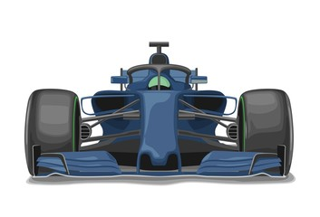 Foto auf Acrylglas F1 Racing blue car with protection front view. Vector flat illustration