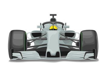 Acrylic Prints F1 Racing silver car with protection front view. Vector flat color illustration