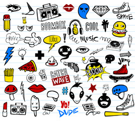 Hipsters teens doodle set