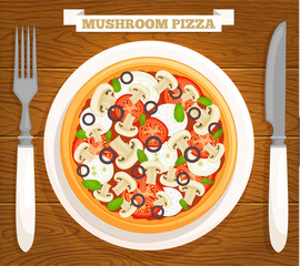 Mushroom pizza on a plate. Vector illustration. Served pizza top view.