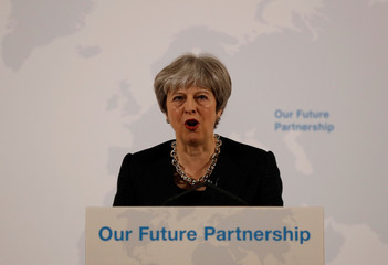 Britain's Prime Minister Theresa May makes a speech about her vision for Brexit at Mansion House in London