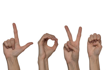 Alphabet for deaf-mutes people with hand gestures and a number letter on a background