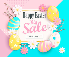 Big Sale card for Happy Easter with beautiful camomiles and painted eggs on geometric background. Sale and discount banner, poster, invitation, flyer. Vector illustration