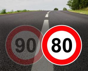 France limitation de vitesse sur les routes á double sens sans séparateur central - France speed limit on two-way roads without central separator