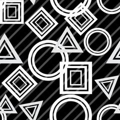 Geometric seamless pattern, black on white.  Vector illustration.