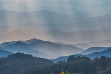 Layers of Blue Ridge Mountains through Afternoon Light
