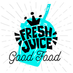 Fresh Juice Good Food Jar Colorful logo emblem ray shine Label poster stickers food jar smoothie sketch style fresh healthy ice cream organic. Hand drawn vector illustration.