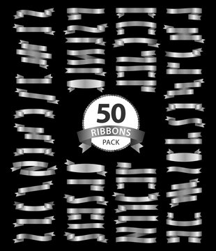 pack of silver ribbons 50