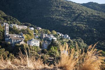 Corsica, 28/08/2017: la macchia mediterranea con vista sullo skyline di uno dei remoti villaggi dell'Alta Corsica sul lato ovest del Capo Corso, famoso per i suoi paesaggi selvaggi