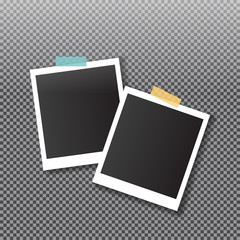 Vintage style. Vector illustration with adhesive tapes. Photo realistic Retro Photo Frame Template for your photos.