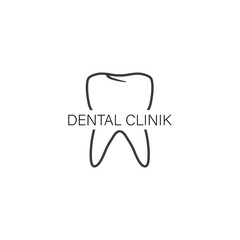 Logo dental, clinic in flat style on white background