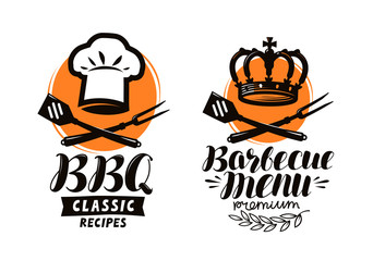 BBQ, barbecue logo or label. Element for restaurant menu design. Food vector illustration