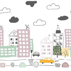 Horizontal seamless pattern with cartoon street. Vector illustration.
