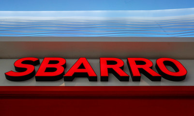 The logo of U.S. pizza brand Sbarro is seen on its restaurant at a shopping mall in Moscow