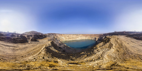 Spherical panorama of a mining crater in the Earth crust
