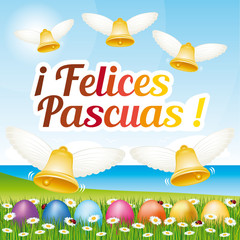 Beautiful and colorful Happy Easter greeting card with easter eggs and bells. Vector spanish illustration II.