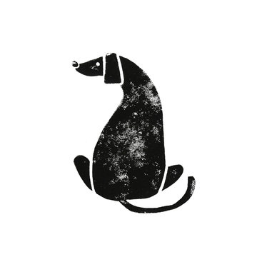 Linocut black-white dog with big ears sitting back. hound