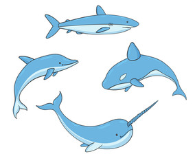 Set of vector underwater life with killer whale, shark, narwhal and dolphin. Sea creatures isolated on the white background.