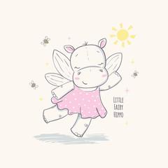 Little fairy hippo. Vector illustration for kids