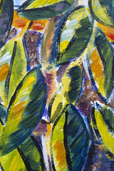 Vibrant multi-colored original oil painting close up detail showing brushwork and canvas textures - leaves