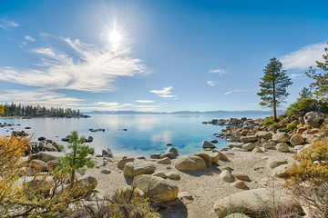 Wall Mural - Lake Tahoe east shore beach, calm turquoise water in sunny day
