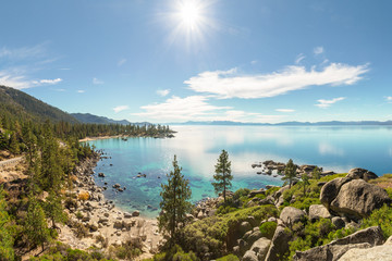 Wall Mural - Lake Tahoe east shore overview near Sand Harbor in sunny day