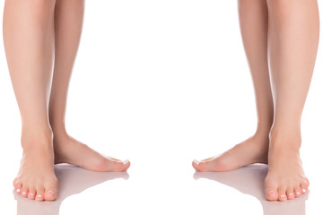 Set female feet legs heel of foot  from different directions medicine beauty health