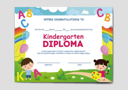 School, kindergarten diploma, sertificate