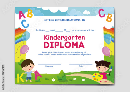 school kindergarten diploma sertificate stock image and royalty