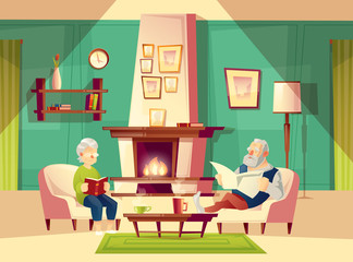 Vector cartoon background with old man and woman, who sit in armchairs near fireplace, rest, read book and newspaper. Modern interior of living room with furniture. Family life concept illustration