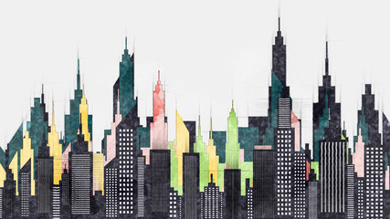 Modern American City Buildings And Skyscrapers Illustration