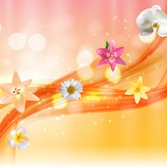 Hello Summer Natural Floral Background Vector Illustration