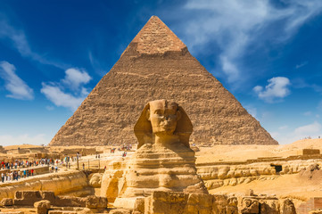 Fotobehang Egypte Egyptian sphinx. Cairo. Giza. Egypt. Travel background. Architectural monument. The tombs of the pharaohs. Vacation holidays background wallpaper