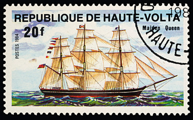 "Sailing ship ""Maiden Queen"" on postage stamp"