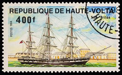 "Sailing ship ""True Briton"" on postage stamp"