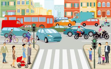 Straßenverkehr in der Stadt, illustration