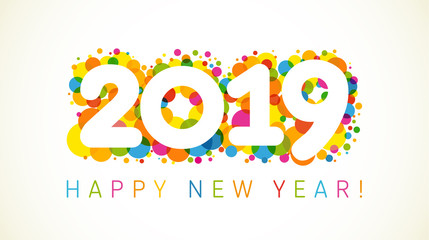2019 A Happy New Year xmas greetings. Holidays colored background, bubbles shape pattern. Funny isolated digits, isolated numbers template. Percent % off idea, colored letter O, 0 zero null symbol.