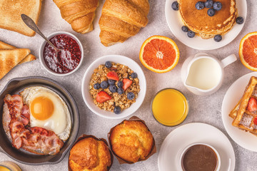 Delicious breakfast on a light table.