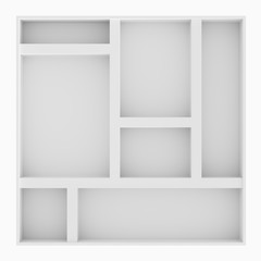 Empty Multi Parts White Shelves