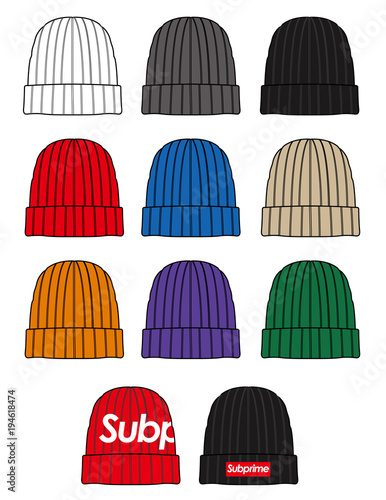 beanie design fashion flat technical drawing template stock image