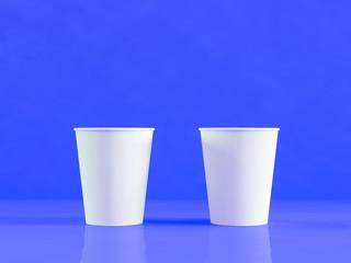 paper cups mockup, 3d illustration, mock up, blue background