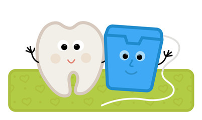 Floss and Tooth - Cute clip-art of a happy tooth and dental floss standing together. Eps10