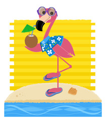 Flamingo At The Beach - Flamingo wearing sunglasses, Hawaiian shirt and flip flops is holding a coconut drink and standing on a sandy beach. Eps10