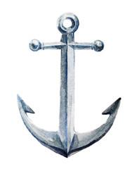 Watercolor sketch of a nautical anchor