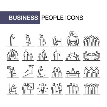 Business people 24 icons set simple line flat illustration